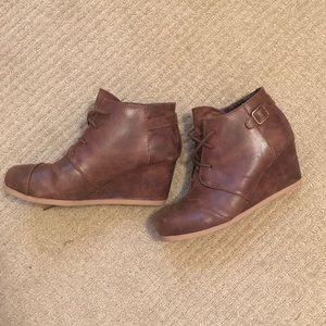 Maurice's brown wedge booties